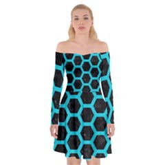 HEXAGON2 BLACK MARBLE & TURQUOISE COLORED PENCIL (R) Off Shoulder Skater Dress