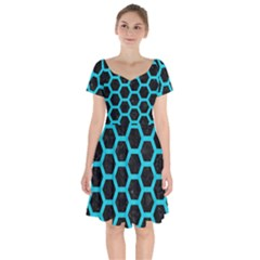HEXAGON2 BLACK MARBLE & TURQUOISE COLORED PENCIL (R) Short Sleeve Bardot Dress