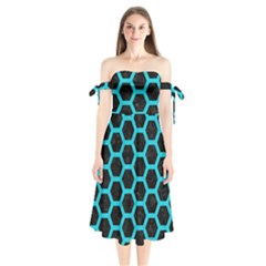 HEXAGON2 BLACK MARBLE & TURQUOISE COLORED PENCIL (R) Shoulder Tie Bardot Midi Dress