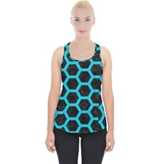 HEXAGON2 BLACK MARBLE & TURQUOISE COLORED PENCIL (R) Piece Up Tank Top