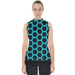 HEXAGON2 BLACK MARBLE & TURQUOISE COLORED PENCIL (R) Shell Top