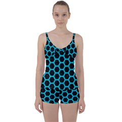 HEXAGON2 BLACK MARBLE & TURQUOISE COLORED PENCIL (R) Tie Front Two Piece Tankini