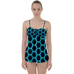 HEXAGON2 BLACK MARBLE & TURQUOISE COLORED PENCIL (R) Babydoll Tankini Set