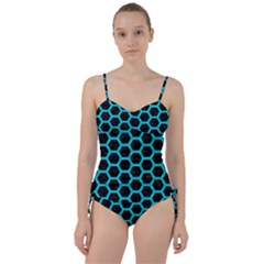 HEXAGON2 BLACK MARBLE & TURQUOISE COLORED PENCIL (R) Sweetheart Tankini Set