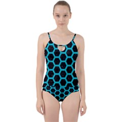 HEXAGON2 BLACK MARBLE & TURQUOISE COLORED PENCIL (R) Cut Out Top Tankini Set