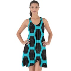 HEXAGON2 BLACK MARBLE & TURQUOISE COLORED PENCIL (R) Show Some Back Chiffon Dress