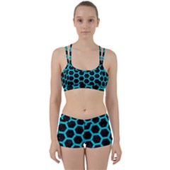 HEXAGON2 BLACK MARBLE & TURQUOISE COLORED PENCIL (R) Women s Sports Set
