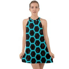 HEXAGON2 BLACK MARBLE & TURQUOISE COLORED PENCIL (R) Halter Tie Back Chiffon Dress