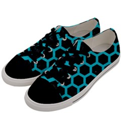 HEXAGON2 BLACK MARBLE & TURQUOISE COLORED PENCIL (R) Men s Low Top Canvas Sneakers