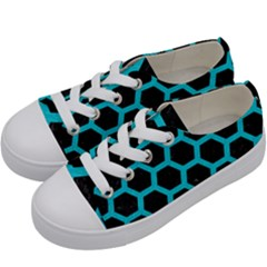 HEXAGON2 BLACK MARBLE & TURQUOISE COLORED PENCIL (R) Kids  Low Top Canvas Sneakers
