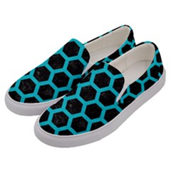 HEXAGON2 BLACK MARBLE & TURQUOISE COLORED PENCIL (R) Men s Canvas Slip Ons