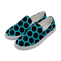 HEXAGON2 BLACK MARBLE & TURQUOISE COLORED PENCIL (R) Women s Canvas Slip Ons