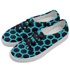 HEXAGON2 BLACK MARBLE & TURQUOISE COLORED PENCIL (R) Women s Classic Low Top Sneakers