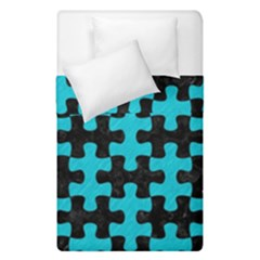 Puzzle1 Black Marble & Turquoise Colored Pencil Duvet Cover Double Side (single Size) by trendistuff