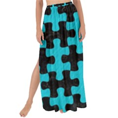 Puzzle1 Black Marble & Turquoise Colored Pencil Maxi Chiffon Tie Up Sarong