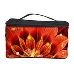 Beautiful Ruby Red Dahlia Fractal Lotus Flower Cosmetic Storage Case by jayaprime