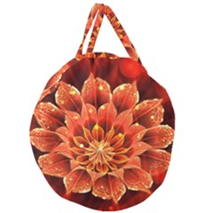 Beautiful Ruby Red Dahlia Fractal Lotus Flower Giant Round Zipper Tote by jayaprime