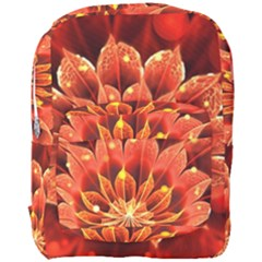 Beautiful Ruby Red Dahlia Fractal Lotus Flower Full Print Backpack by jayaprime