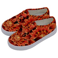 Beautiful Ruby Red Dahlia Fractal Lotus Flower Kids  Classic Low Top Sneakers by jayaprime
