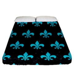 Royal1 Black Marble & Turquoise Colored Pencil Fitted Sheet (queen Size)