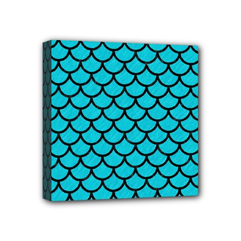 Scales1 Black Marble & Turquoise Colored Pencil Mini Canvas 4  X 4  by trendistuff