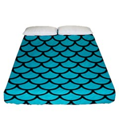 Scales1 Black Marble & Turquoise Colored Pencil Fitted Sheet (queen Size) by trendistuff