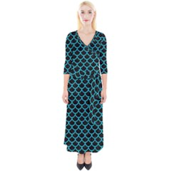 Scales1 Black Marble & Turquoise Colored Pencil (r) Quarter Sleeve Wrap Maxi Dress