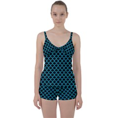 Scales1 Black Marble & Turquoise Colored Pencil (r) Tie Front Two Piece Tankini