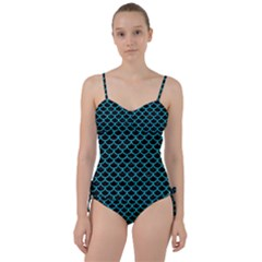 Scales1 Black Marble & Turquoise Colored Pencil (r) Sweetheart Tankini Set