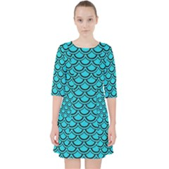 Scales2 Black Marble & Turquoise Colored Pencil Pocket Dress