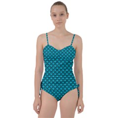 Scales2 Black Marble & Turquoise Colored Pencil Sweetheart Tankini Set