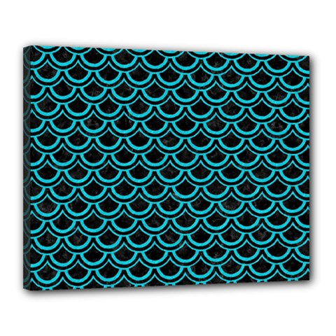 Scales2 Black Marble & Turquoise Colored Pencil (r) Canvas 20  X 16  by trendistuff