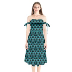 Scales2 Black Marble & Turquoise Colored Pencil (r) Shoulder Tie Bardot Midi Dress by trendistuff