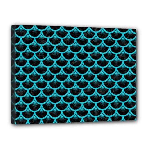 Scales3 Black Marble & Turquoise Colored Pencil (r) Canvas 16  X 12  by trendistuff