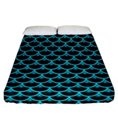Scales3 Black Marble & Turquoise Colored Pencil (r) Fitted Sheet (california King Size) by trendistuff