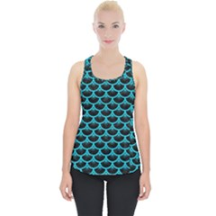 Scales3 Black Marble & Turquoise Colored Pencil (r) Piece Up Tank Top