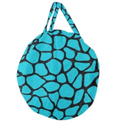 Skin1 Black Marble & Turquoise Colored Pencil (r) Giant Round Zipper Tote