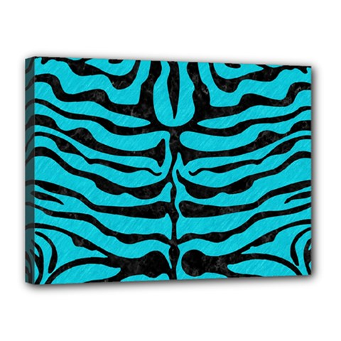 Skin2 Black Marble & Turquoise Colored Pencil Canvas 16  X 12  by trendistuff