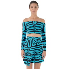 Skin2 Black Marble & Turquoise Colored Pencil Off Shoulder Top With Skirt Set