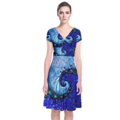 Nocturne Of Scorpio, A Fractal Spiral Painting Short Sleeve Front Wrap Dress by jayaprime