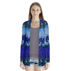 Nocturne Of Scorpio, A Fractal Spiral Painting Drape Collar Cardigan by jayaprime