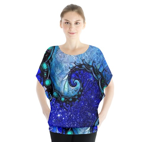 Nocturne Of Scorpio, A Fractal Spiral Painting Blouse by jayaprime