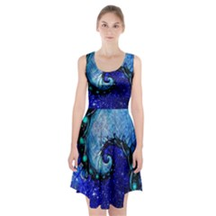 Nocturne Of Scorpio, A Fractal Spiral Painting Racerback Midi Dress by jayaprime