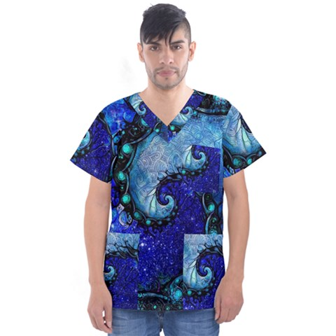 Nocturne Of Scorpio, A Fractal Spiral Painting Men s V-neck Scrub Top by jayaprime