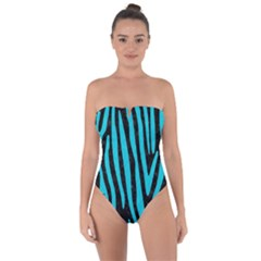 Skin4 Black Marble & Turquoise Colored Pencil Tie Back One Piece Swimsuit