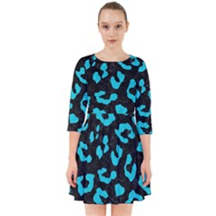 Skin5 Black Marble & Turquoise Colored Pencil Smock Dress