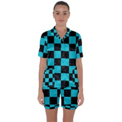 Square1 Black Marble & Turquoise Colored Pencil Satin Short Sleeve Pyjamas Set by trendistuff