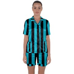 Stripes1 Black Marble & Turquoise Colored Pencil Satin Short Sleeve Pyjamas Set