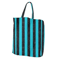 Stripes1 Black Marble & Turquoise Colored Pencil Giant Grocery Zipper Tote by trendistuff