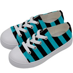 Stripes1 Black Marble & Turquoise Colored Pencil Kids  Low Top Canvas Sneakers by trendistuff